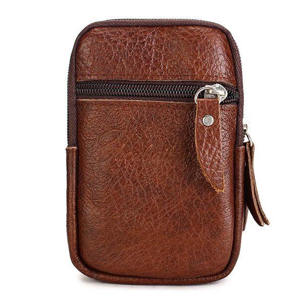 Los hombres del cuero genuino pequeño bolso de la cintura al aire libre tarjetas telefónicas Bolsas casaul Monedero
