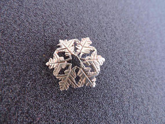 Snowflake Sterling Silver Brooch Snow Flake Broach Delicate