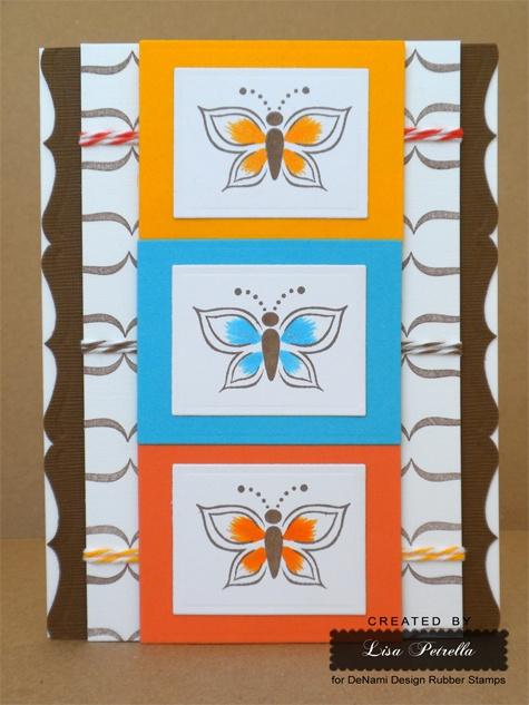 Same stamp in different colors makes for an interesting design.: Denami Cards, Denami Design, Cards Sets, Cards Ideas, Denami Retro, Cards Inspiration, Butterflies Cards, Bugs Cards, Bonus Cards