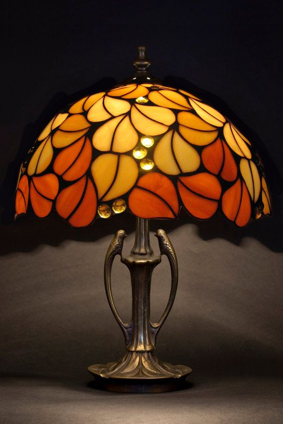 Tiffany lampshade. Stained glass lamp. Leaves lamp. Bedside lamp. Table small lamp.  Handmade lamp. Stained glass Tiffany replica.