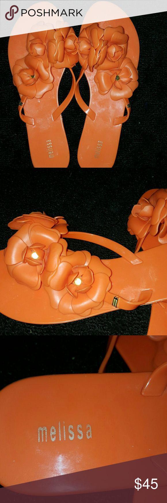 Melissa Sandals orange and gold NWOT Orange and gold sandals with flowers Melissa Shoes Sandals