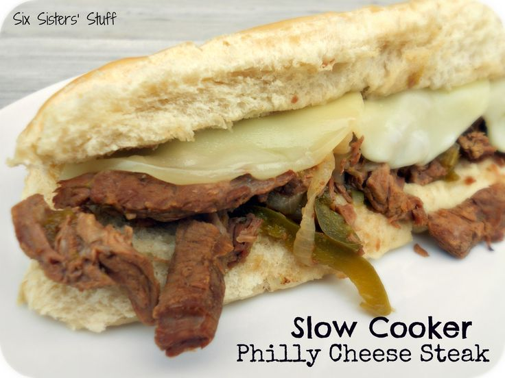 Slow Cooker Philly Cheese Steak Sandwiches.  Simple to throw together and cooks all day for a delicious meal!Crock Pots, Philly Cheese Steaks, Steak Sandwiches, Cooker Philly, Philly Chees Steak, Slow Cooker, Six Sisters Stuff, Dinner Tonight, Delicious Meals