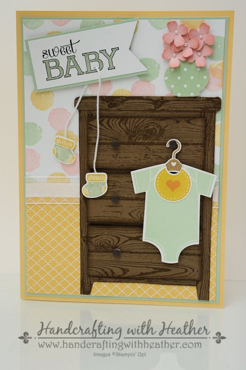 Something for Baby - Finish My Card Collaboration - Stampin' Up!like how she used the wood grain stamp to cut out wood to make furniture!