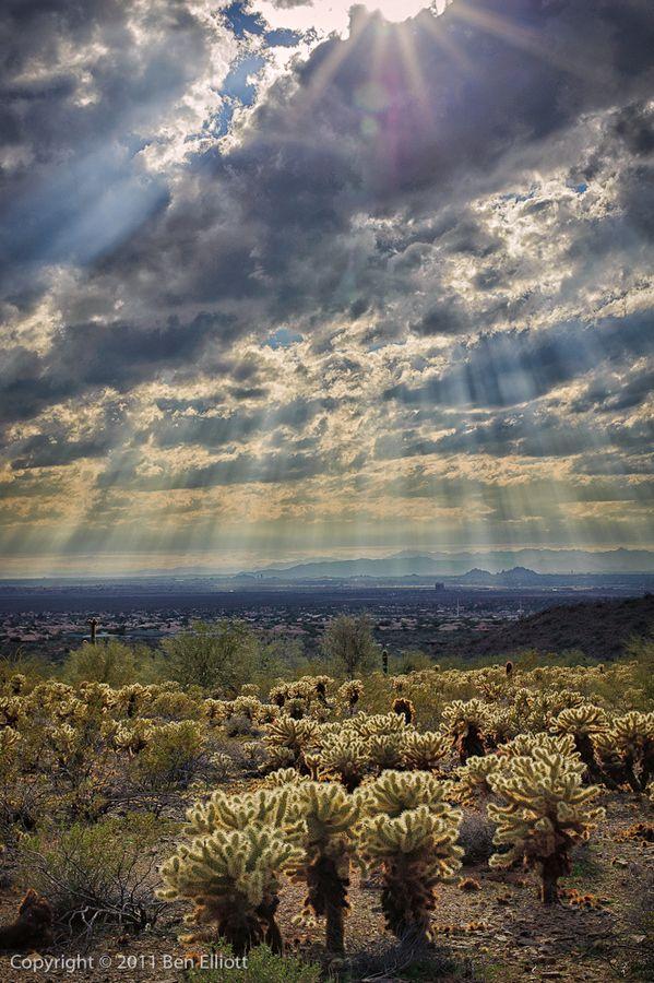 Sunlight Sunshower, Scottsdale, Arizona, USA.