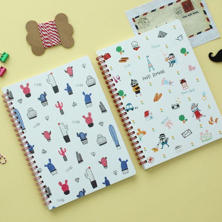N.IVY Cactus Paris romance wirebound lined notebook - fallindesign