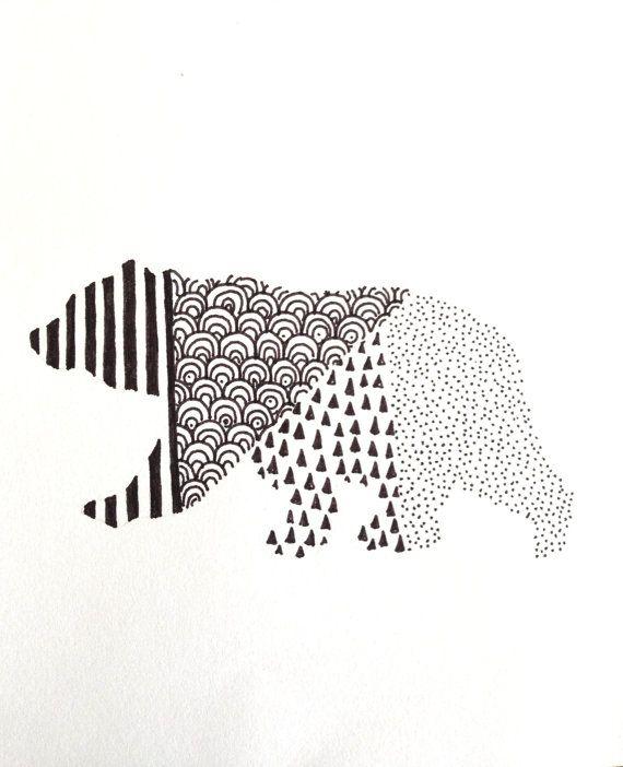 Geometric Bear Illustration by WildHumm on Etsy