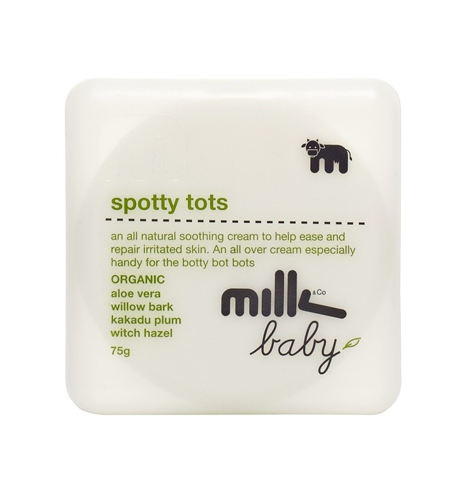 SPOTTY TOTS 75GM  Milk Baby Spotty Tots is an all natural soothing cream, packed with all the good stuff, to help ease and repair irritated skin. Apply Spotty Tots cream to all of the affected areas to keep those nasty itches at bay.  If you like the Spotty Tots and want an everyday moisturiser, try our Milk Baby Moisturising Qweam, you will love it. We promise.