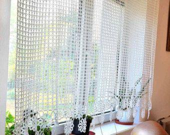 Curtain Crocheted curtain Crochet curtain by Katescrochetwork