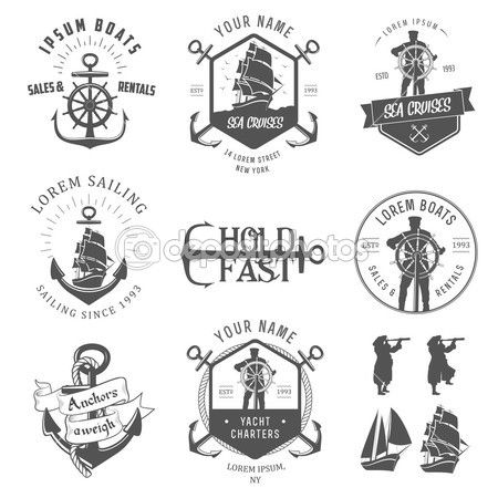 Set of vintage nautical labels, icons and design elements isolated on white background