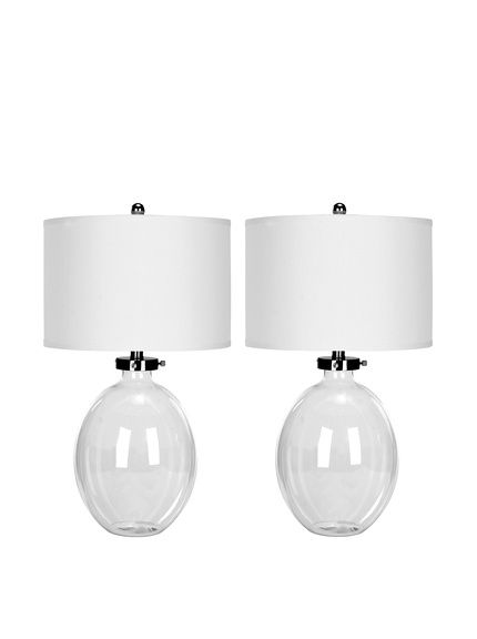 Safavieh Set Of 2 Glass Table Lamps Clear