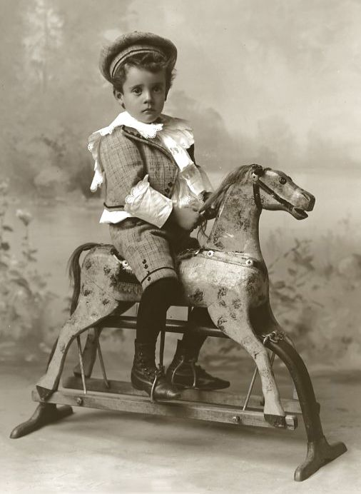 Antique Photograph of my uncle when he was younger, he also handed down this rocking horse to me. -L.B.
