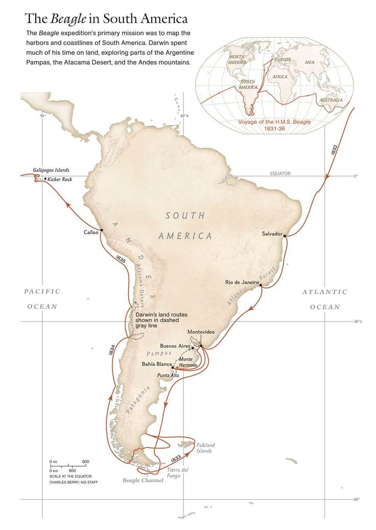 On December 27, 1831, HMS Beagle set sail from Plymouth, England, on an around-the-world voyage to survey the coast of South America.