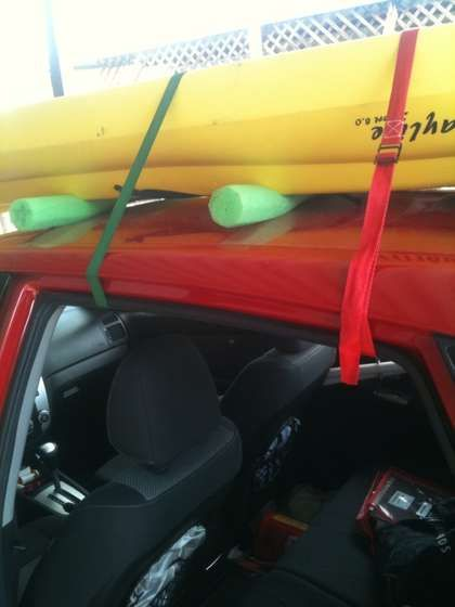 Kayak Rack, DIY. Done! LMAO! This is what my dad keeps saying he wants to do to my car