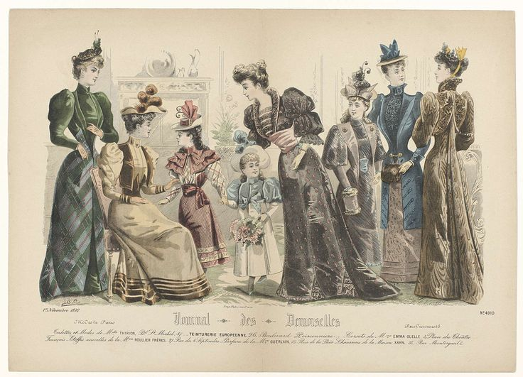 A. Chaillot | Journal des Demoiselles, 1 novembre 1892, No. 4910 : Toilettes et Modes..., A. Chaillot, Falconer, 1892 | Vijf vrouwen en drie meisjes in een interieur. Volgens het onderschrift:  'toilettes' en 'modes' van  Thirion. Hieronder enkele regels reclametekst voor verschillende producten. Prent uit het modetijdschrift Journal des Demoiselles (1833 -1922).