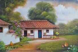 Resultado de imagen para imagenes de paisajes de casas de campo faciles}