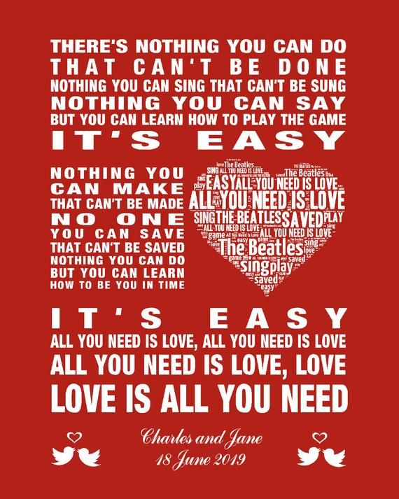 Personalised The Beatles Love Is All You Need Music Song Etsy Beatles Love All You Need Is Love The Beatles