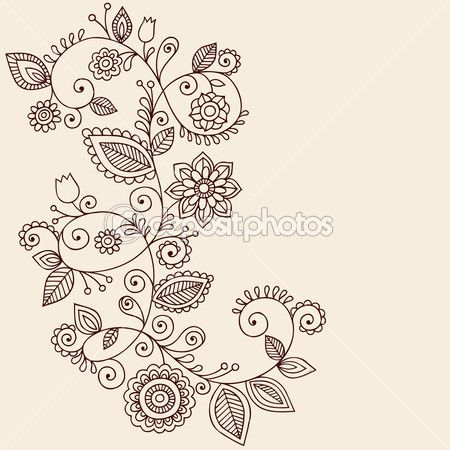 Paisley lace tattoo | Henna Tattoo Paisley Flowers and Vines Doodles Vector — Stock Vector ...
