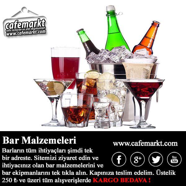 Barların tüm ihtiyaçları  şimdi tek bir adreste. Sitemizi ziyaret edin ve ihtiyacınız olan bar malzemelerini ve bar ekipmanlarını tek tıkla alın. Kapınıza teslim edelim. Üstelik 250 ₺ ve üzeri tüm alışverişlerde KARGO BEDAVA ! http://www.cafemarkt.com/bar-ekipmanlari #Cafemarkt #BarEkipmanları #BarMalzemeleri #Bijon #Shaker #Kadeh #Bardak #KahveMakinesi #Blender #BardakYıkamaMakinesi #ŞişeKovası #akıtıcı #Kuruyemişısıtıcısı