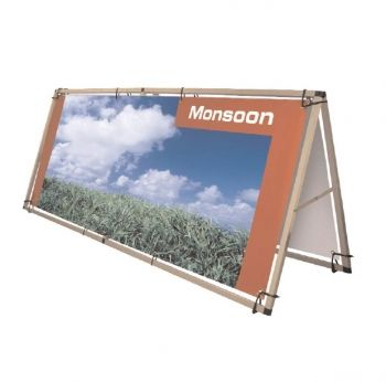 A large format banner 'A' frame made from lightweight aluminum, ideal for use with PVC eyelet banners. Available in two sizes Monsoon is very easy to use, reusable and is the perfect graphics carrier for venues, events, exhibitions, promotions and indoor or outdoor shows. http://www.megaimaging.com/Blog/Monsoon+Outdoor+Stand#tab-description  Contact us at:- Mega Digital Imaging Email: info@megaimaging.com Tel: 905-501-1933 or 416-844-5152