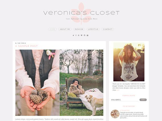 Premade Blogger Template  VERONICA'S CLOSET  by LisasMenagerie LOVE the social media under the menu!