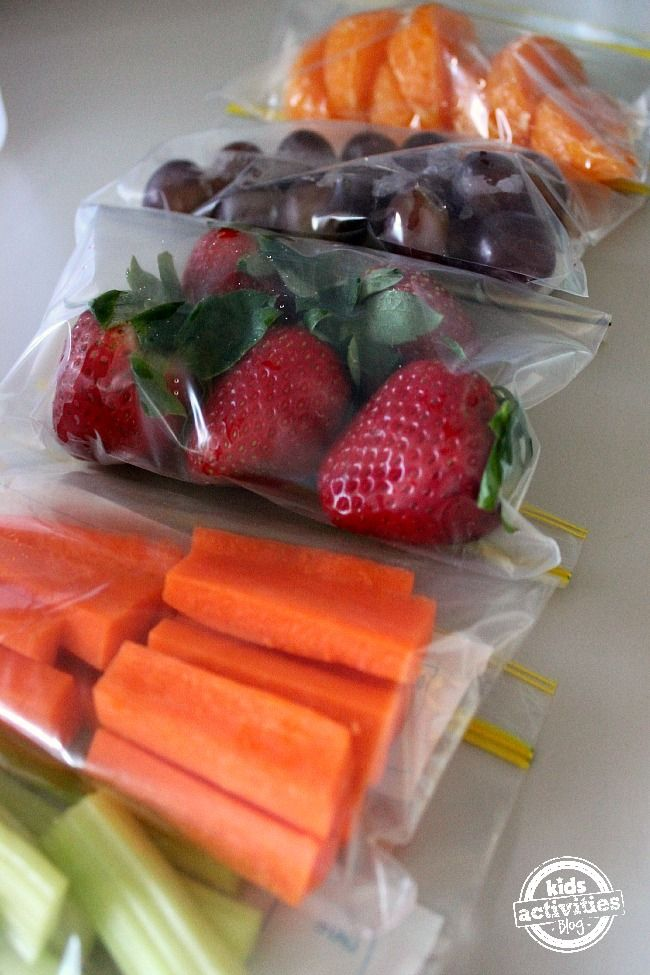 Easy snacks for kids -- pack up a variety of snacks in single-serving containers to grab and go