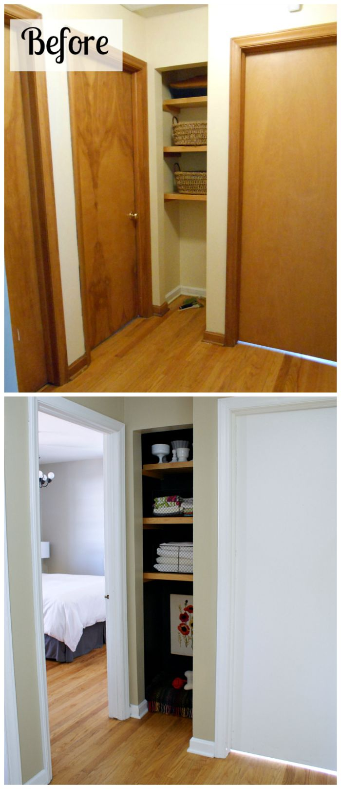 Before and after: A dated hallway gets an update with fresh paint and a black linen closet / dog bed nook. #dogbed #linencloset #black