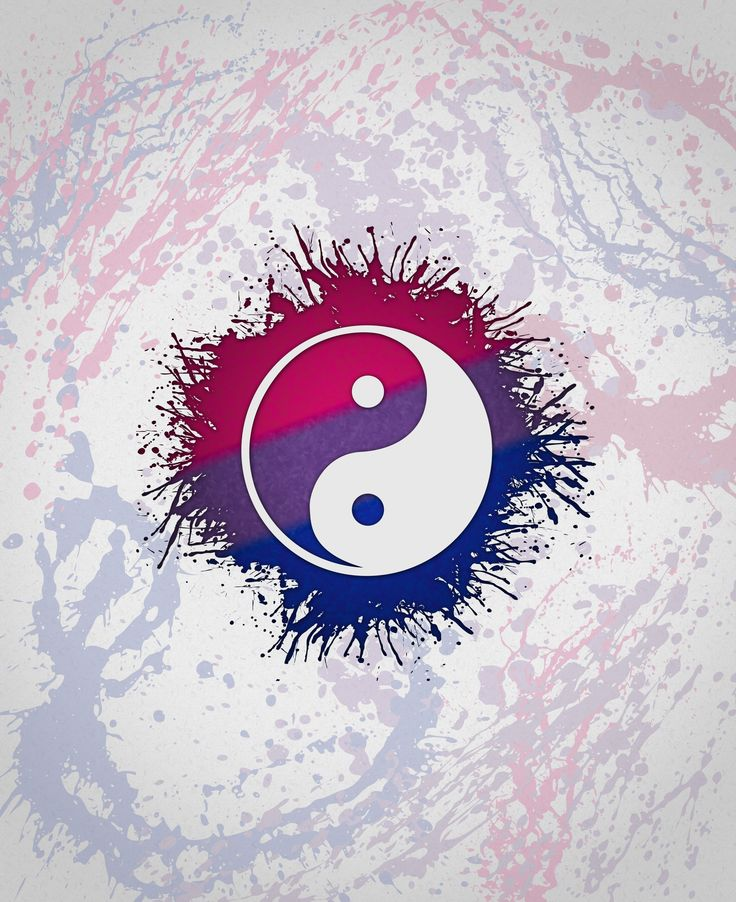 Bisexual Pride Yin and Yang	Taoism's Yin and Yang in Bisexual pride colors. Bi community pride. Splatter pink, purple, and blue.	#Bisexual	#YinYang	#Taoism	#liveloudgraphics