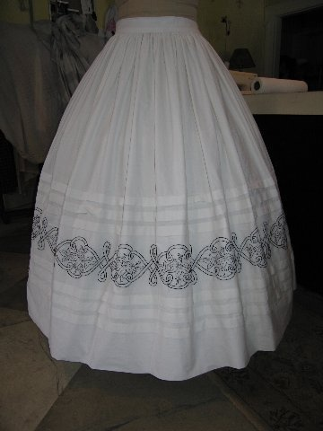 Lovely tucked petticoat with blackwork embroidery - petticoats were a good place to practice different techniques since they wouldn't be seen.
