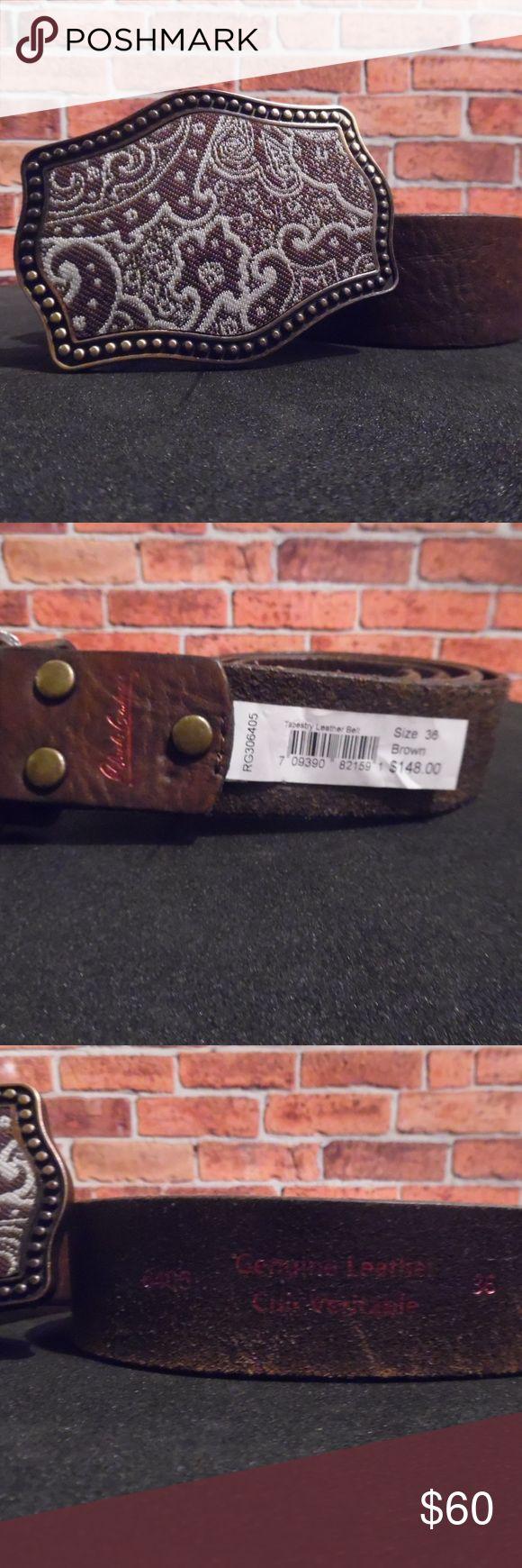 Robert Graham belt with tapestry buckle. Brown leather belt with ornate tapestry buckle by Robert Graham. Robert Graham Accessories Belts