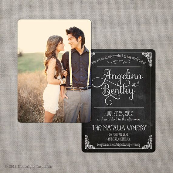 Chalkboard Wedding Invitation  the Angelina 3 by NostalgicImprints, $1.68