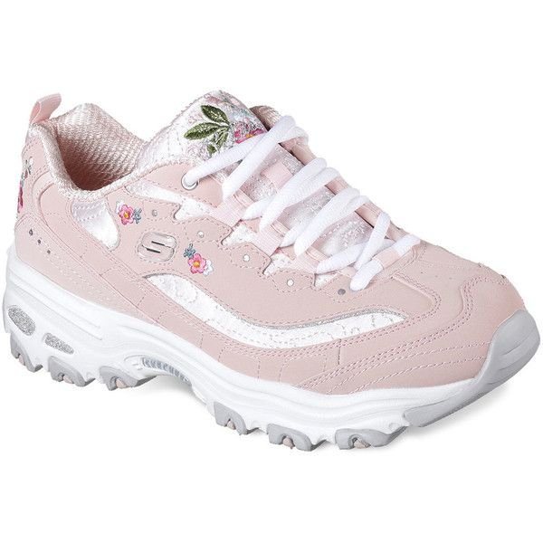 Skechers D'Lites Bright Blossoms Women's Shoes ($60) ❤ liked on Polyvore featuring shoes, athletic shoes, blue, blue shoes, shock absorbing shoes, skechers athletic shoes, skechers footwear and athletic footwear