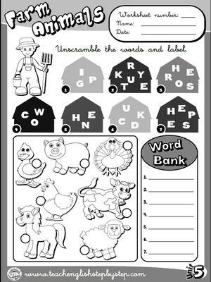 Farm  Animals - Worksheet 1 (B&W version)
