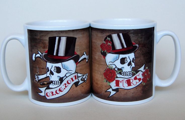 Mr and Mrs Mugs Skull and date banners customised to order wedding mugs anniversary mugs his and hers mugs mr and mrs wedding mugs by TotalMug on Etsy