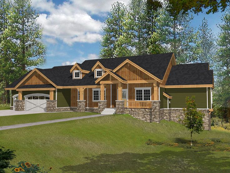 Muirfield castle rustic home house plans craftsman and for Rustic ranch style homes