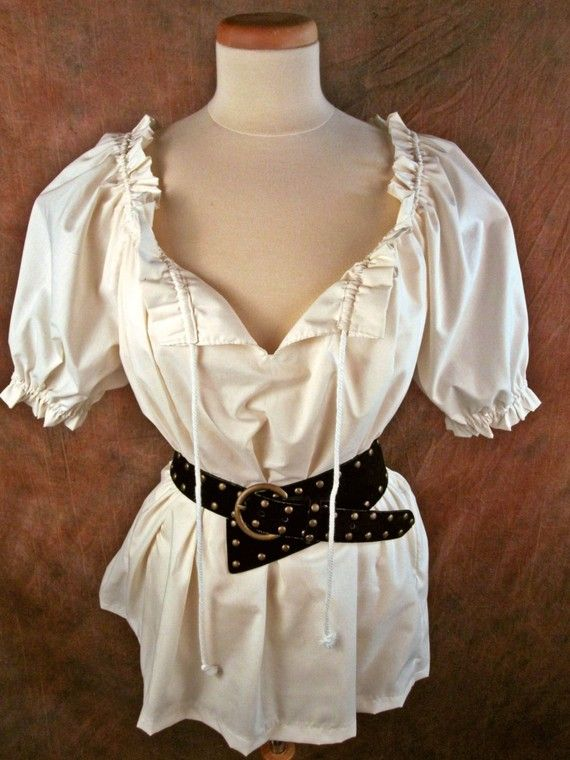 Cream off-white cotton (or ANY color) ruffle DRAWSTRING - Renaissance Medieval shirt chemise - on Etsy, $28.00