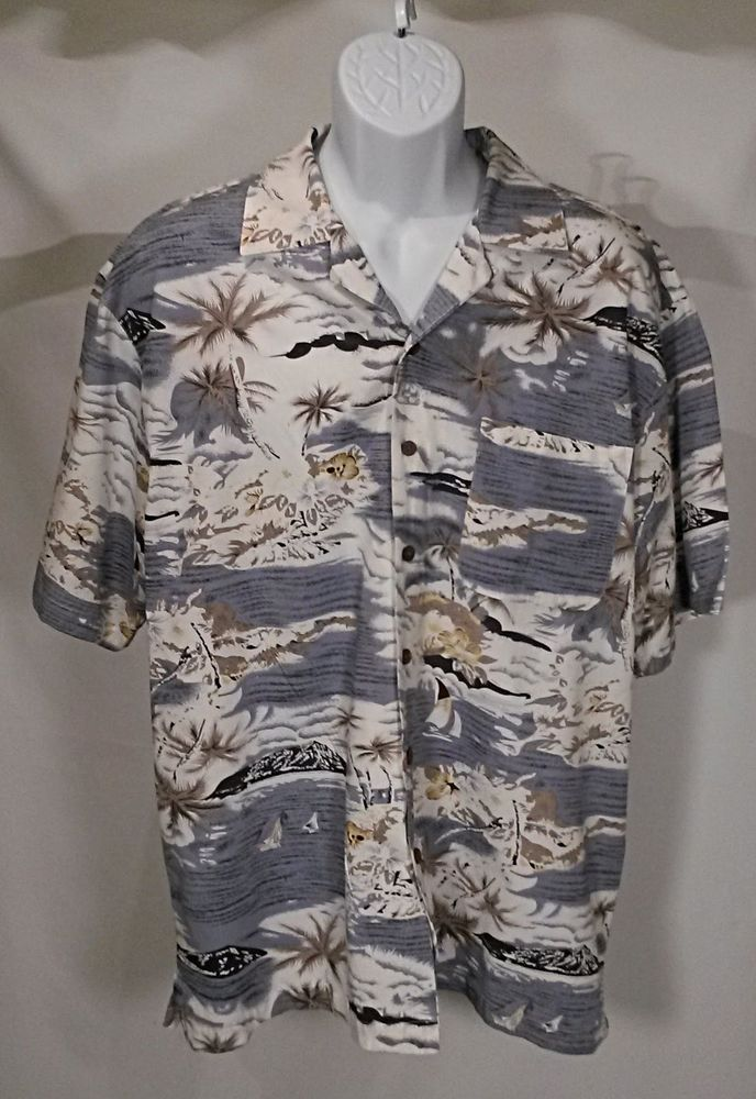 Milano Bay Hawiian Shirt Blue Islands Palms Sailboats coconut buttons XL   #MilanoBay #Hawaiian