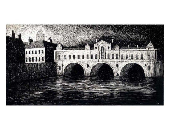 """""""Putteney Bridge"""" by Ed Kluz (scraperboard)"""