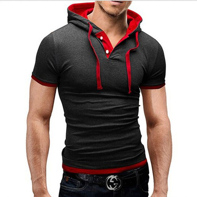 2017 New Men Tshirt Hooded Tees Hot Sale Summer Cool Design T-Shirt Homme Fitness Streetwear Brand Clothing Male T Shirt Plus