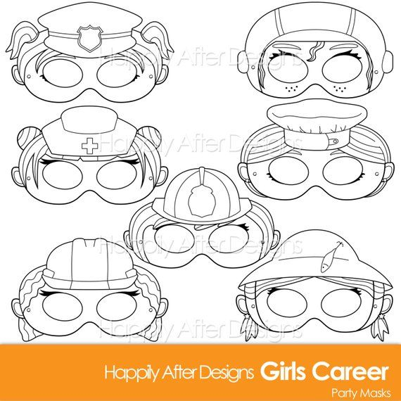 Girls Career Printable Coloring Mask Careers Police Firefighter