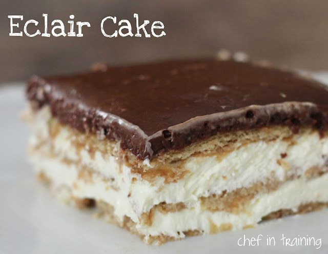 No-Bake Eclair Cake... this cake is SO easy and SO delicious! All the work is done the night before. Everyone is always asking for this recipe whenever I make it!