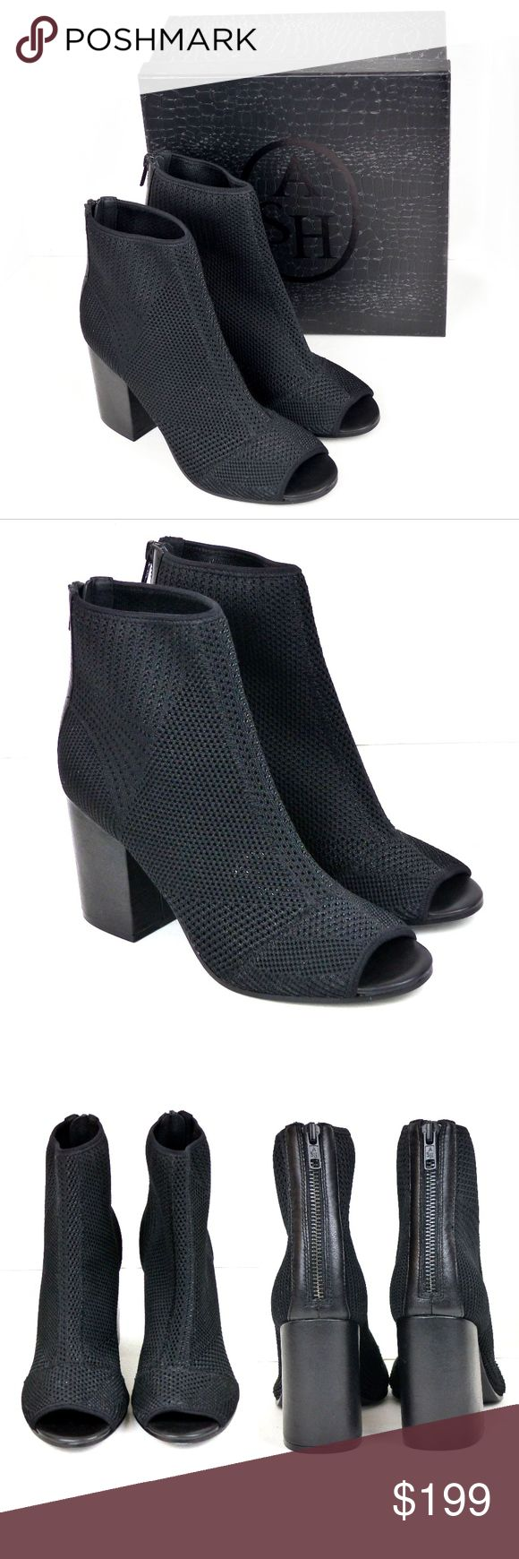 "ASH Future Peep Toe Ankle Bootie Black 8US 39EU Worn indoors for a few hours only, Ash Black Future Peep Toe Ankle Booties. Comes with box and dust bag. Retailed $225.00   Size/ Measurements: EU 39 US 8 M UK 6  10 1/4"" Insole Length  3 ½  Heel height 4 7/8"" Shaft ""Tall"" 9 1/2 "" Circumference (around the ankle)   Detail: Peep toe Contrasting construction Back zip closure Covered block heel Inside padded insole Some minimal sole wear Ash Shoes Ankle Boots & Booties"
