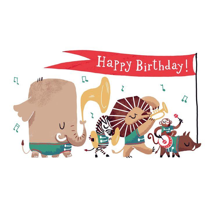 Glücklich Geburtstag Postkarte Animal Parade - Abbildung der Dschungel-Tiere, die Musikinstrumente spielen. Zebra, Affe, Elefant, Löwe, Wildschwein von CarolinaBuzio auf Etsy https://www.etsy.com/de/listing/176417785/glucklich-geburtstag-postkarte-animal