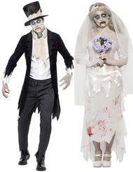 Couples Zombie Bride & Groom Fancy Dress Costumes