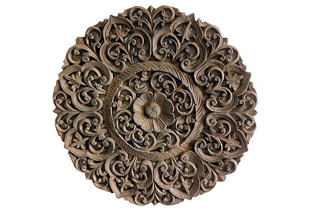 Round carved wood panel by Asian Art Imports