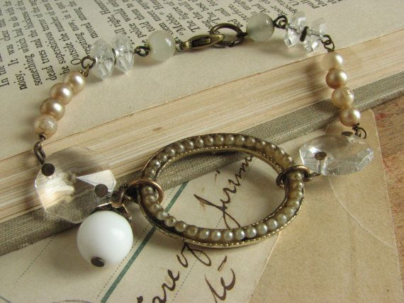 Shabby Chic Assemblage Bracelet repurposed vintage by whybecause, $32.50