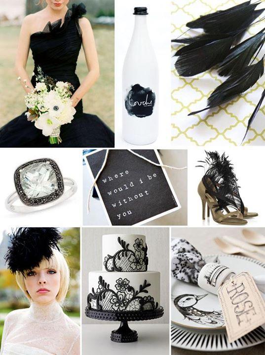Piume nere in vari dettagli per il matrimonio