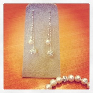 Stunning Pearl and Disco Ball Drop Earrings Available from Fields Jewellers From the end of July