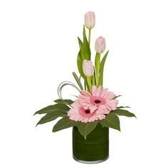 "PRETTY IN PINK  Fresh ingredients: 3 Variegated Lily Grass Stems 1 Aspidistra Leaf 1 Fatsia Leaf 3 Tulips 2 Gerbera 1 Salal Stem  OASIS Ingredients: 5"" Grand Cylinder 1/3 Brick OASIS® Floral Foam Maxlife"