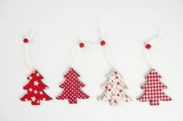 Red and white traditional Christmas trees