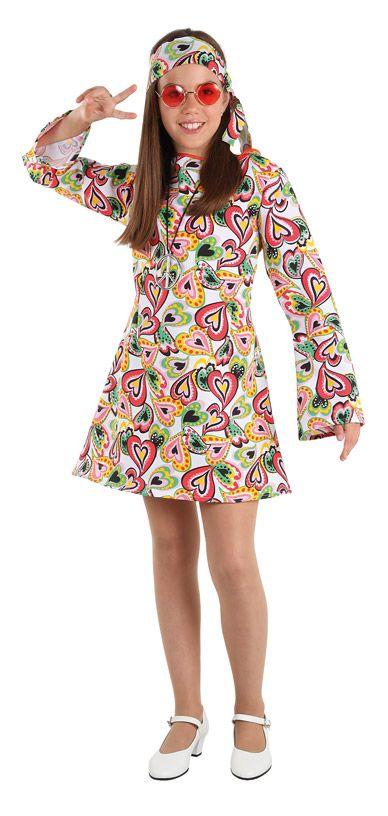 DisfracesMimo, disfraz de hippie años 70 niña varias tallas. Con este traje  volverás a